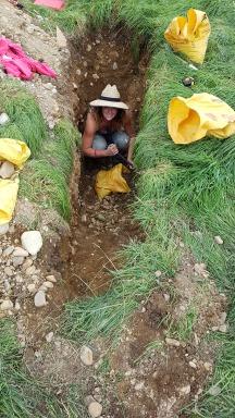 In the soil pit installing sensors